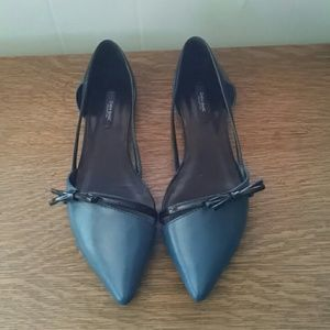 Zara d'Orsay style Flats Navy and Black size 8